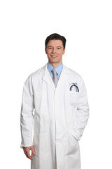 Doctor standing on white background