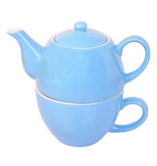 Blue tea cup and pot