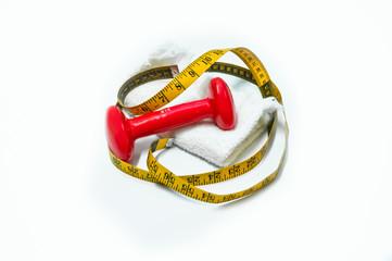Poids haltère et galon à mesurer