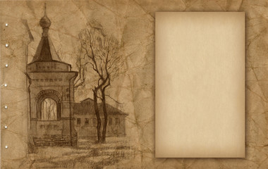 Old paper with sketch of church
