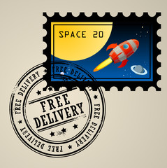 Post stamp with rocket in the space