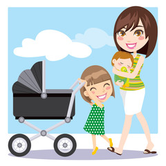Mother walking and daughter pushing a baby carriage