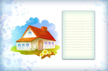 Watercolor background with house