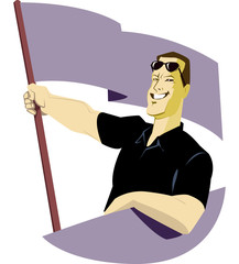 Man with flag