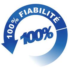 100 pour 100 fiabilité sur vignette fléchée bleue