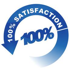 100 pour 100 satisfaction sur vignette fléchée bleue