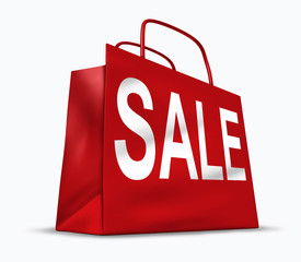 Red shopping bag with the word sale