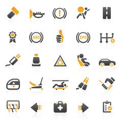 orange car icons - set 12