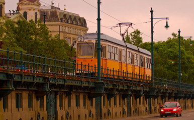 Tram and car, traffic in Budapest