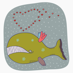 cartoon whale valentine card
