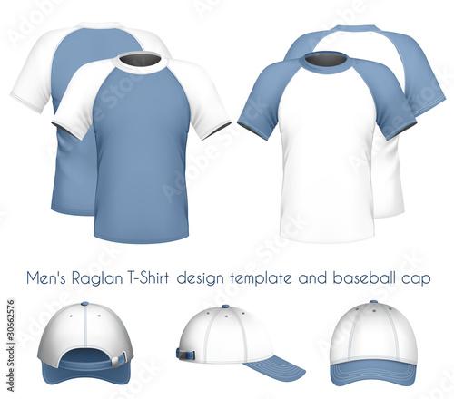 Vector men\'s raglan t-shirt design template & baseball cap.\