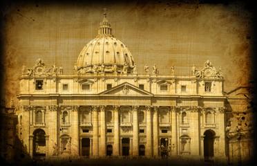 Retro card with italian architecture of Vatican, Roma