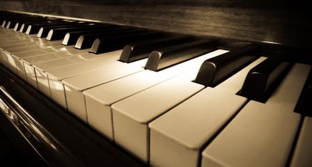 Close up shot of piano keyboard