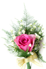 natural pink rose corsage, vertical