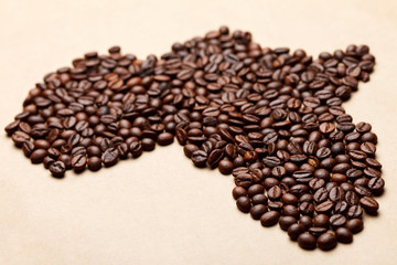 Africa made of coffee beans