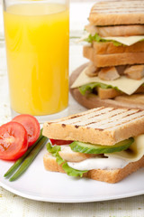 Roast chicken and Salad Sandwich