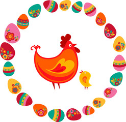 Easter chicken and eggs