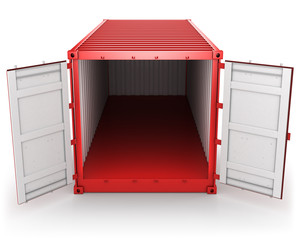 Opened red freight container isolated, front view