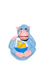 Rubber toy monkey isolated on white background