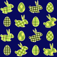"Blue ""Eggs and rabbits"" Easter background"