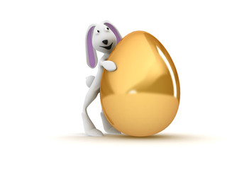 3D illustration of  rabbit holding a huge golden egg