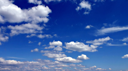 Classic blue sky with white clouds