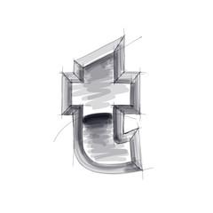 3d metal letters sketch - t. Eps10