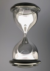 closeup of hourglass in warm black and white 3d render