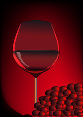 goblet red blame and branch of grape