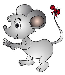 illustration mouse with bow