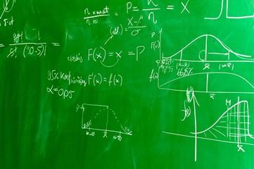 Green chalk board with formulas