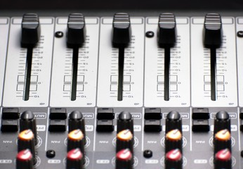 Texture of an audio sound mixer with buttons