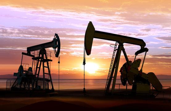 oil pumps on sunset