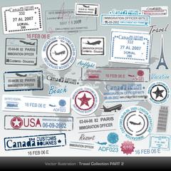 set of vector passport stamps