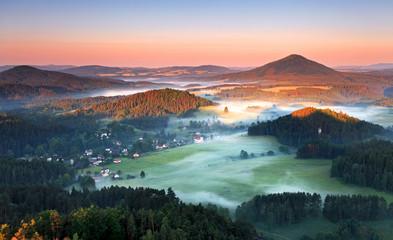 Misty morning in nice mountain