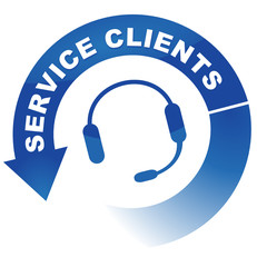service clients sur vignette fléchée bleue