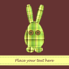 Brown Easter card with plaid rabbit
