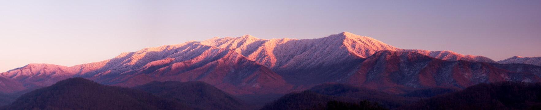 Sun setting on Smoky Mountains