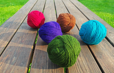 .Multicolored wool balls.