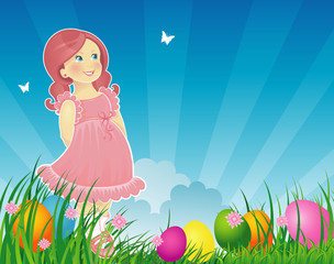 Easter background with little girl