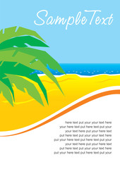 sunny beach with palm leaves
