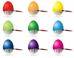 Set Easter eggs  painting with brush. vector illustration
