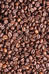 Dark roasted coffee beans texture