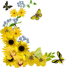 pattern with yellow sunflowers and butterflies