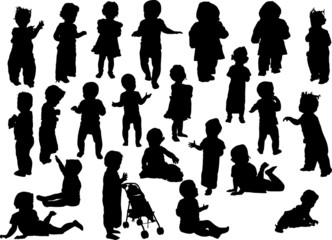 large set of baby silhouettes