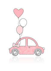 Pink female car with floral ornament and balloons