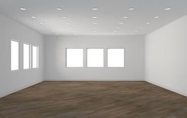 Interno vuoto con parquet e finestre
