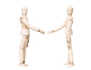 Drawing dolls make a handshake