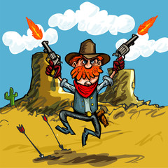 Cartoon cowboy jumping with his six guns