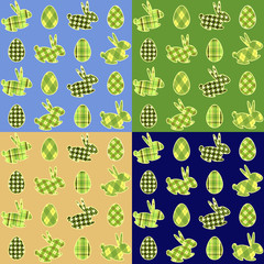 """Eggs and rabbits"" Easter background in four colours"